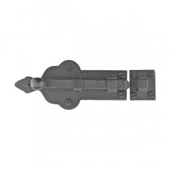 <PRE>Black Door Bolt Wrought Iron Slide Lock Security 4inch Wide </PRE>zoom3