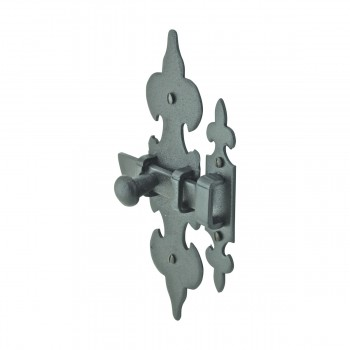 <PRE>Cabinet Latch Wrought Iron Black Fleur de Lis 6inch </PRE>zoom6