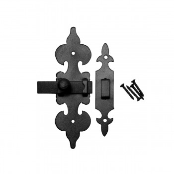 Cabinet Latch Wrought Iron Black Fleur de Lis 6