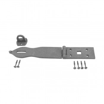 <PRE>Hasp Black Wrought Iron 1 3/4inch H x 8 1/2&quot; W </PRE>zoom1