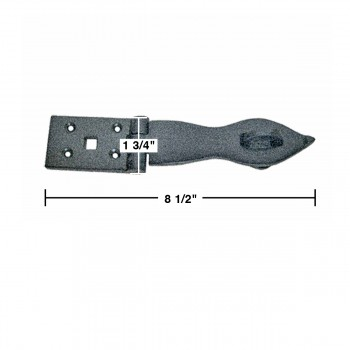 spec-<PRE>Hasp Black Wrought Iron 1 3/4&quot; H x 8 1/2&quot; W </PRE>