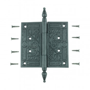 <PRE>Wrought Iron Butt Hinge Black Victorian Steeple Tip </PRE>zoom11