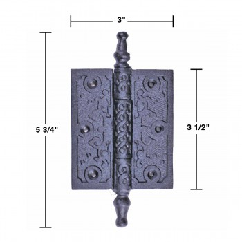 spec-<PRE>Victorian Door Hinge Steeple Tip Wrought Iron Hinges 3 Inch</PRE>