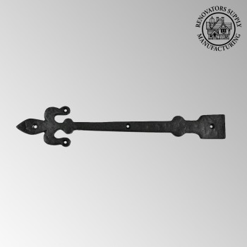 <PRE>Heavy Iron Door Strap Dummy Hinge Fleur De Lis 12&quot; Long </PRE>