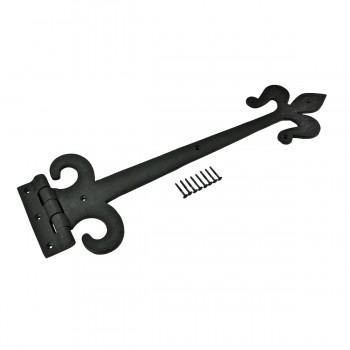 Wrought Iron Door Strap Hinge Fleur De Lis 18 Long Wrought Iron Door Hinges Black Door Hinges Vintage Strap Hinges