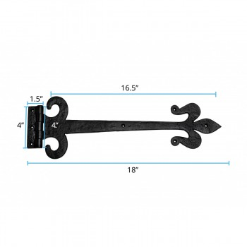 spec-<PRE>Wrought Iron Door Strap Hinge Fleur De Lis 18&quot; Long </PRE>