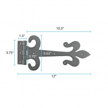 "spec-<PRE>Door Hinge Black Wrought Iron Strap Fleur de Lis 12"" </PRE>"