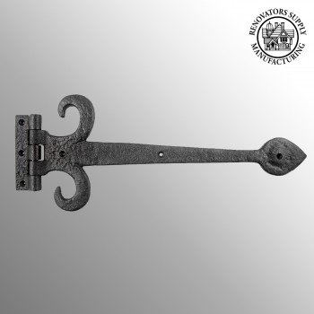 Wrought Iron Strap Hinge Fleur de Lis Heavy Duty 1512 Wrought Iron Door Hinges Black Door Hinges Vintage Strap Hinges