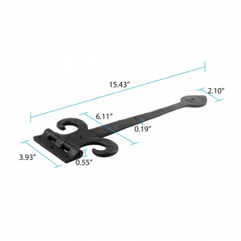 "spec-<PRE>Wrought Iron Strap Hinge Fleur de Lis Heavy Duty 15-1/2"" </PRE>"