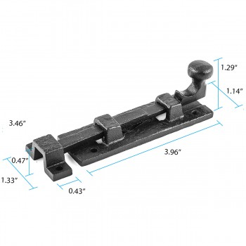 "spec-<PRE>Black Wrought Iron  Cabinet or Door Slide Bolt 4"" W </PRE>"