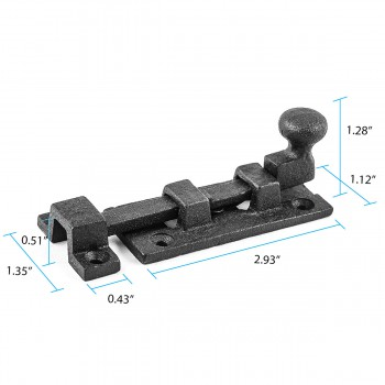 "spec-<PRE>Wrought Iron Slide Bolt - 3"" Wide - Black - Rustproof Finish</PRE>"