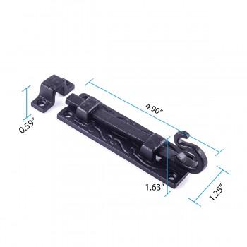 spec-<PRE>Black Wrought Iron Door Bolt Flush Mount 4.75in Wide</PRE>