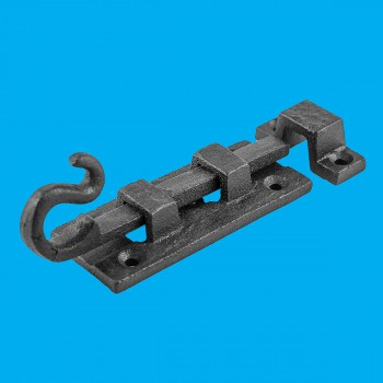<PRE>Black Wrought Iron Cabinet or Door Fancy Slide Bolt 3 7/8inch </PRE>zoom2