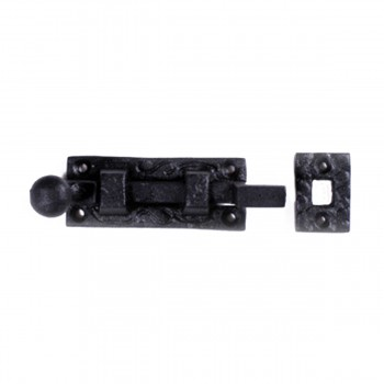 Black Wrought Iron Slide Bolt 4 inch Offset 15808grid