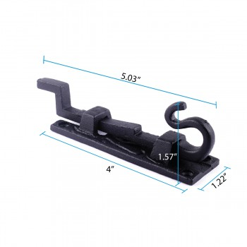spec-<PRE>Door Slide Bolt 5&quot; Offset Necked Hand Forged Iron </PRE>