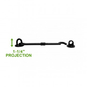 spec-<PRE>Wrought Iron Cabin Hook - Black - 7-1/2&quot; Wide</PRE>