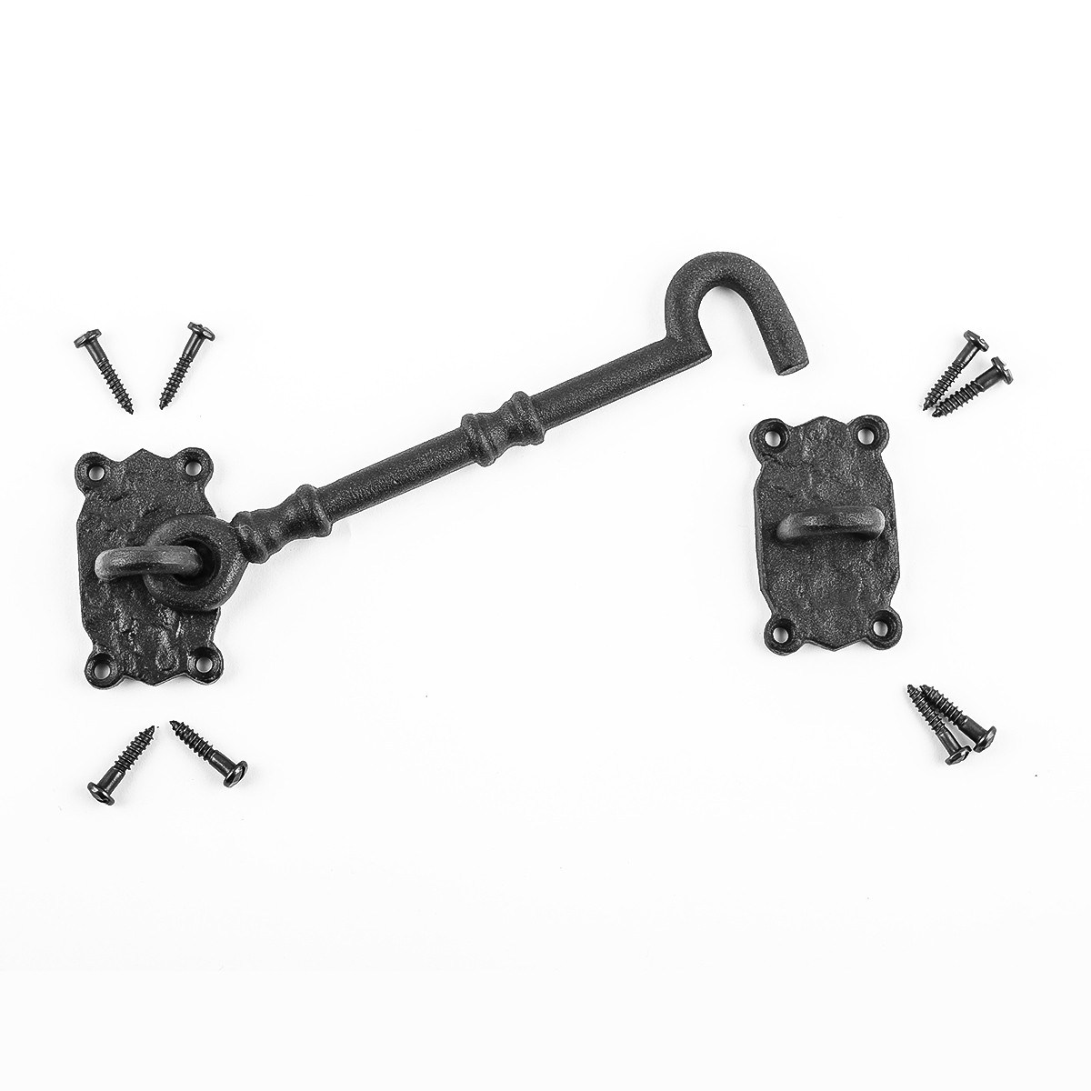 Cabin Hook And Eye Latch Iron Eye and Hook Latch Black 7.25 Inch Cabin Hook Latch Wrought Iron Cabin Hook Cabin Hook And Eye Latch