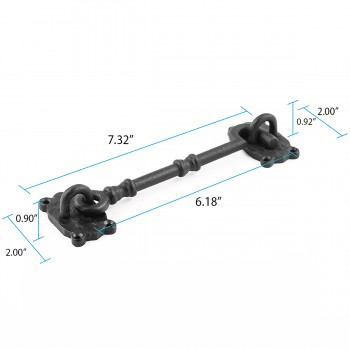 spec-<PRE>Cabin Hook And Eye Latch Iron Eye and Hook Latch Black 7.25 Inch</PRE>