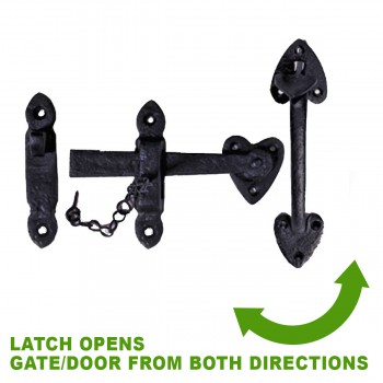 spec-<PRE>Suffolk Black Iron Door Latch Lock Heart Thumb Set 8&quot; </PRE>