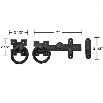 """spec-<PRE>7"""" Two Way Wrought Iron Door Latch Lock Set Ring Pull Colonial Antique Design </PRE>"""