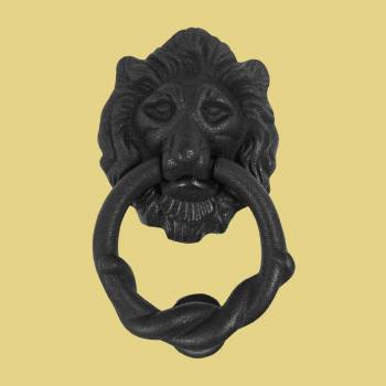 Iron Lion Door Knocker Matte Finish 6 H x 334 W Cast Iron Door Knockers Door Knockers For Front Door Black Door Knockers