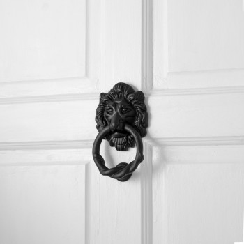 Lion Head Door Knocker Cast Iron Black