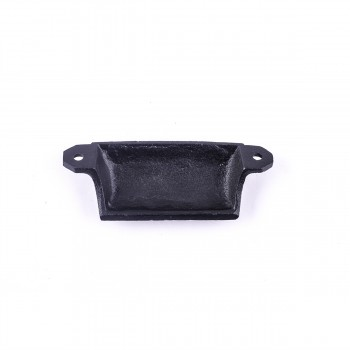 "<PRE>Cabinet or Drawer Bin Pull Black Iron Cup 4inch W x 1 1/2"" H </PRE>zoom7"