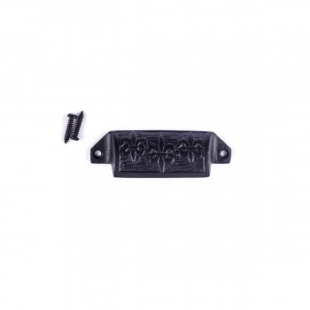 Cabinet or Drawer Bin Pull Black Iron Cup 4