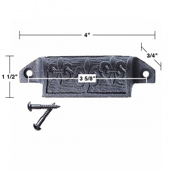 "spec-<PRE>Cabinet or Drawer Bin Pull Black Iron Cup 4"" W x 1 1/2"" H </PRE>"