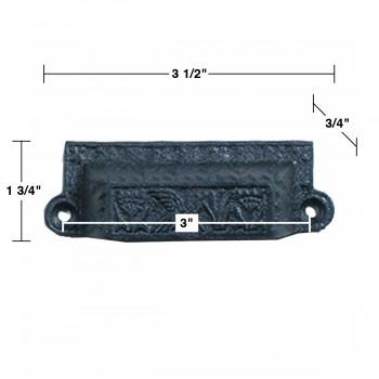 spec-<PRE>Cabinet or Drawer Bin Pull Black Iron Cup 3 1/2 W x 1 3/4 H </PRE>