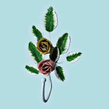 <PRE>Flower Robe Hook Wrought Iron Pink Rose </PRE>zoom2