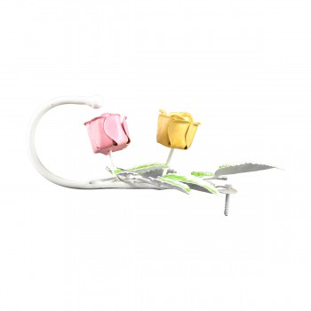 <PRE>Flower Robe Hook Wrought Iron Pink Rose </PRE>zoom5