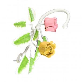 Flower Robe Hook Wrought Iron Pink Rose Hooks Decorative Hook Coat Hook