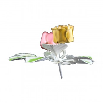 <PRE>Flower Robe Hook Wrought Iron Pink Rose </PRE>zoom8