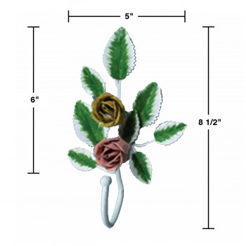 spec-<PRE>Flower Robe Hook Wrought Iron Pink Rose </PRE>
