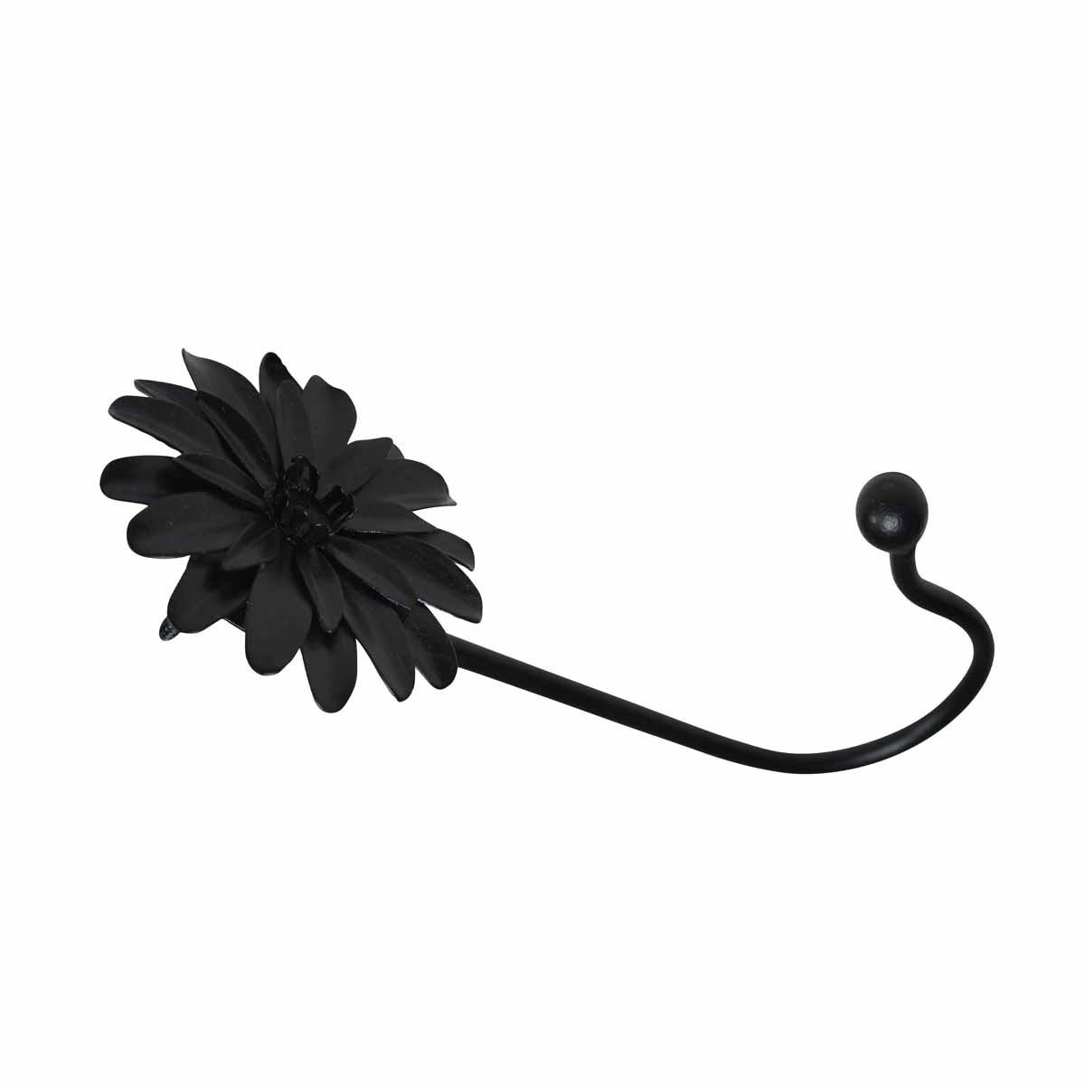 Flower Hook Wrought Iron Black Zinnia  7 H X 3 Proj Hooks Decorative Hook Coat Hook