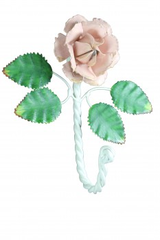 Flower Hook Wrought Iron Multi Colored Pink Rose 15882grid