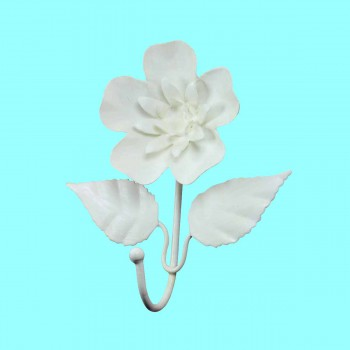 <PRE>Flower Hook Wrought Iron White </PRE>zoom2