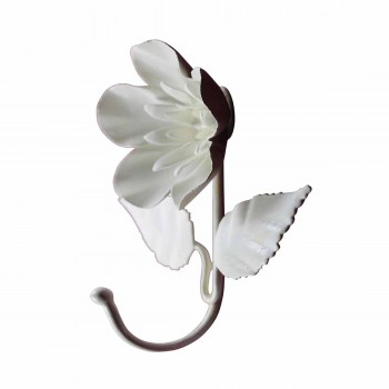 <PRE>Flower Hook Wrought Iron White </PRE>zoom3