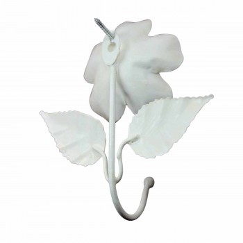 <PRE>Flower Hook Wrought Iron White </PRE>zoom5