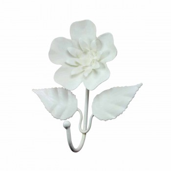 Flower Hook Wrought Iron White 15883grid
