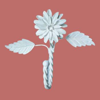 <PRE>Flower Hook Wrought Iron White Zinnia </PRE>zoom2