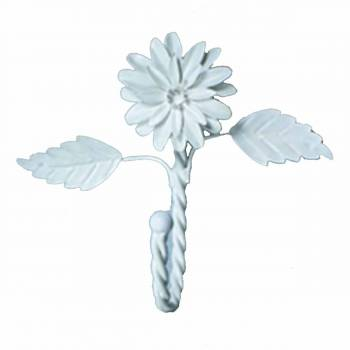 Flower Hook Wrought Iron White Zinnia 15884grid