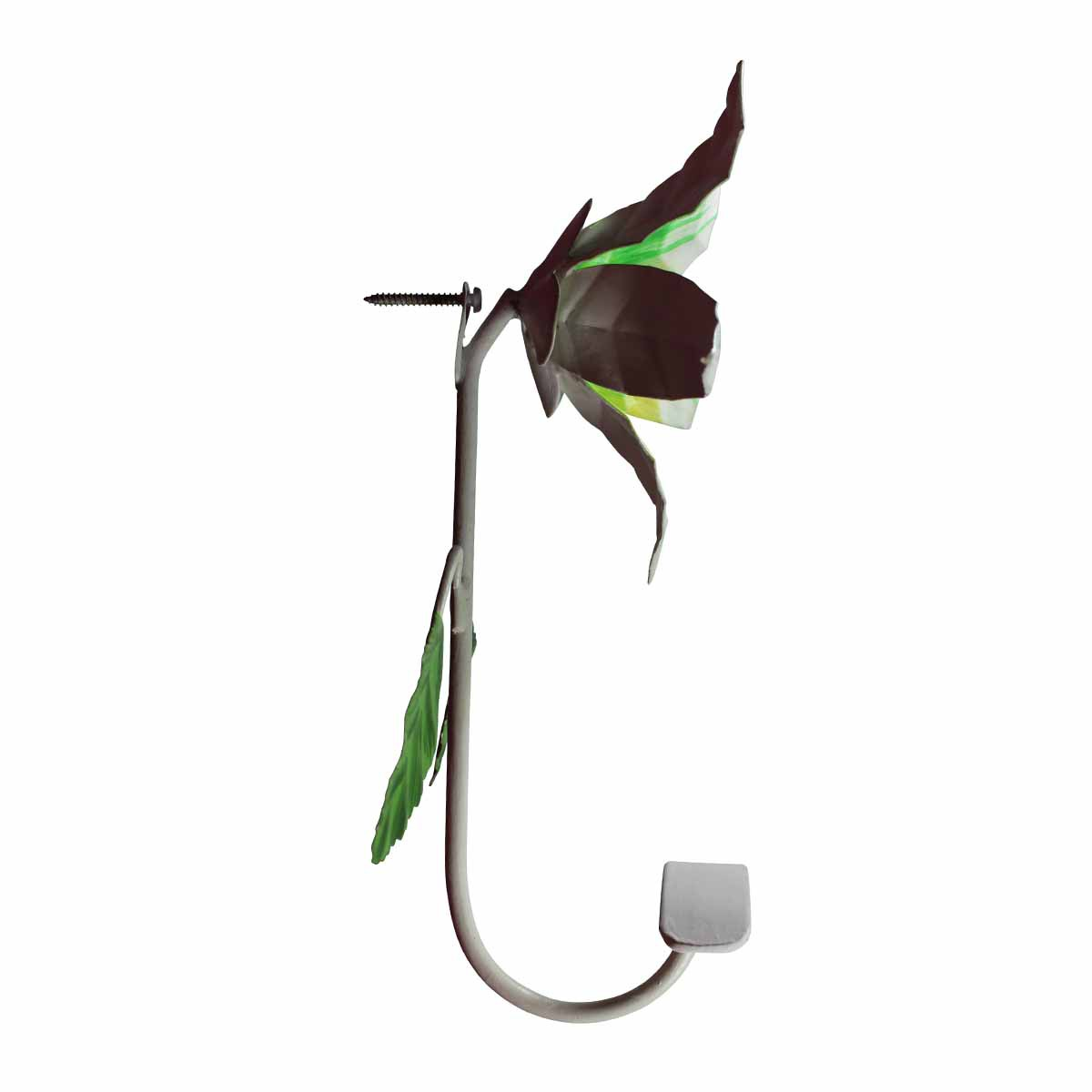 Flower Hook Wrought Iron Multi Colored Lily Hooks Decorative Hook Coat Hook