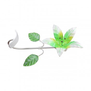 <PRE>Flower Hook Wrought Iron Multi Colored Lily </PRE>zoom9