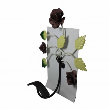 <PRE>Flower Hook Wrought Iron Multi Colored Rose </PRE>zoom4
