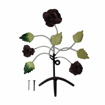 <PRE>Flower Hook Wrought Iron Multi Colored Rose </PRE>zoom5