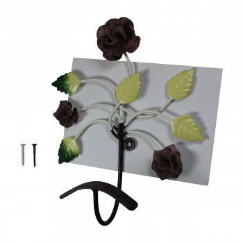 <PRE>Flower Hook Wrought Iron Multi Colored Rose </PRE>zoom7