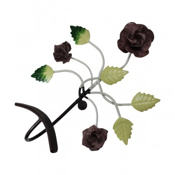 <PRE>Flower Hook Wrought Iron Multi Colored Rose </PRE>zoom8