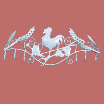 <PRE>6 Hook Wrought Iron White Rooster </PRE>zoom2